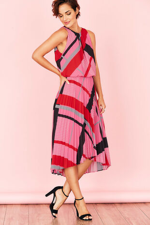Sleeveless Oversize Check Pleated Dress