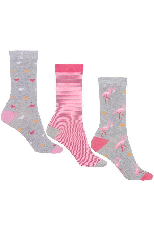 Flamingo Heart 3 Pack Sock