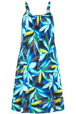 Watercolour Leaf Print Beach Dress with Frill Hem