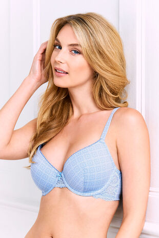 Blue Geometric T-Shirt Bra