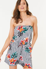 Gingham Floral Playsuit