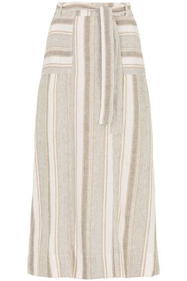 Stripe Linen Blend Maxi Skirt