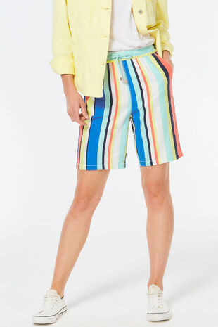 Multi Stripe Linen Blend Short
