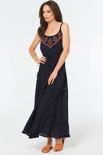 Tiered Maxi Dress With Embroidery