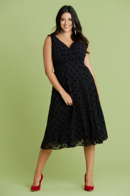 Scarlett & Jo Velvet Spot Flock Dress
