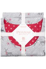 Gift Wrapped Reindeer Print PJ Set