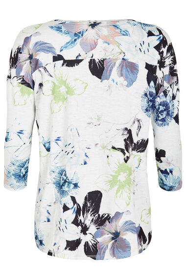 Floral Print Textured T-Shirt
