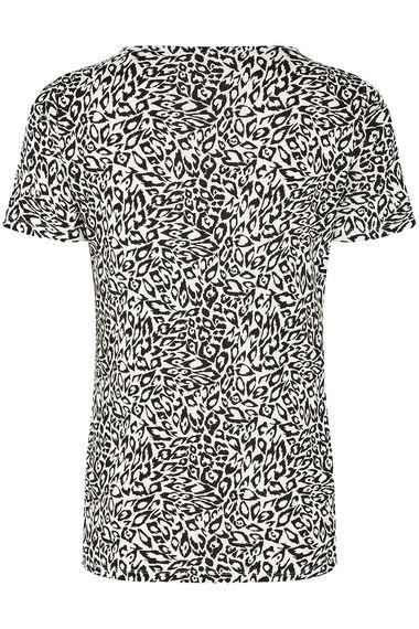Notch Neck Mono Animal Print T-Shirt