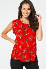 Izabel Feather Print Sleeveless Top