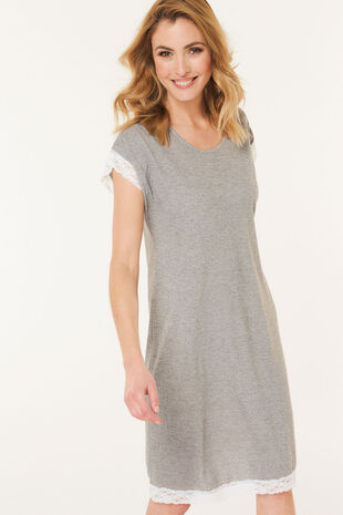 Grey Lace Short Sleeve Nightdress