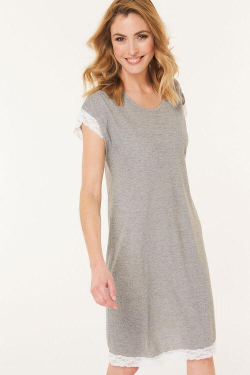 Grey Lace Short Sleeve Nightdress