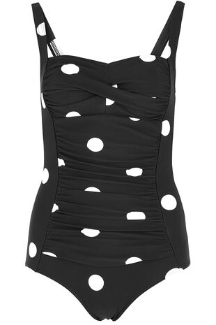 Spaced Spot Ruched Front Swimsuit