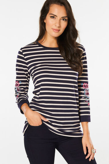 Stripe with Embroidery Detail Sleeve T-Shirt