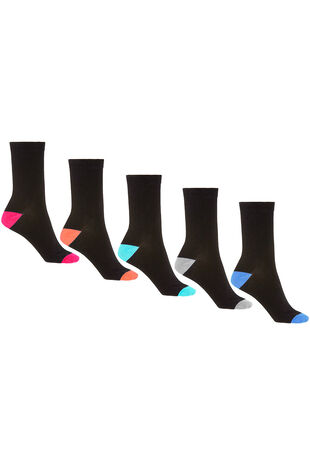 5 Pack Contrast Heel and Toe Sock