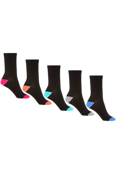 5 Pack Contrast Heel And Toe Socks