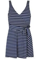 Stripe Wrap Tie Side Swimdress