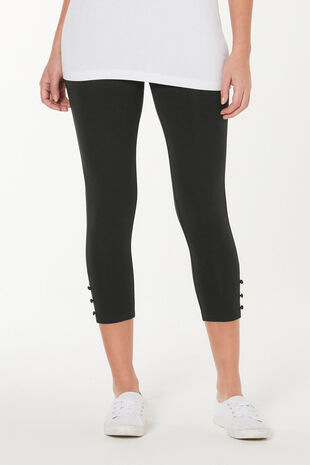 Button Hem Crop Legging