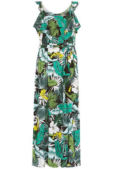 Sleeveless Leaf Print Maxi Dress