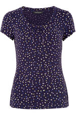 Spot Print V-Neck Short Sleeve Top