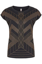 Stella Morgan Glitter Linear Print T-Shirt