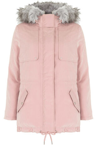 Soft Touch Hooded Parka with Fur Trim