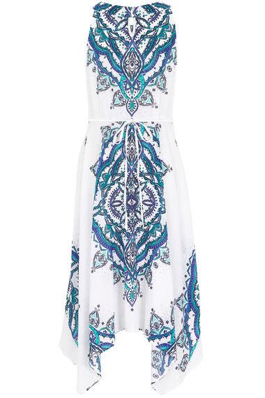 Printed Hankie Hem Dress