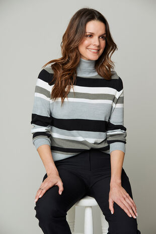 Supersoft Stripe Roll Neck Jumper