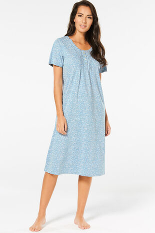 Blue Frill Neck Nightdress