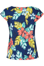 Floral Print Linen Blend T-Shirt