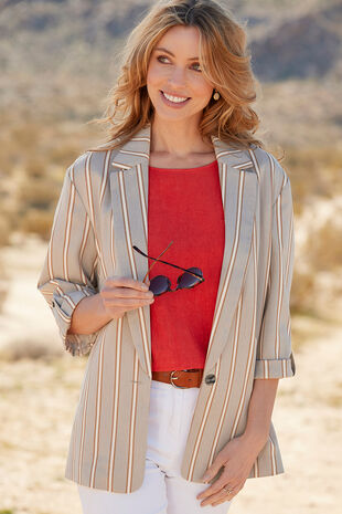 Striped Linen Look Blazer