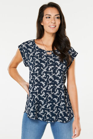 Izabel Bird Print Shell Top