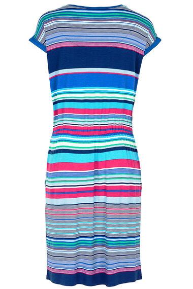 Stripe Print Tie Waist Beach Dress
