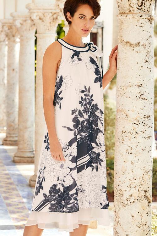 Floral Border Print Layered Chiffon Dress