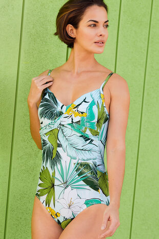 Banana Print Ruched Front Swimsuit