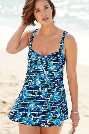 Floral Stripe Swimdress