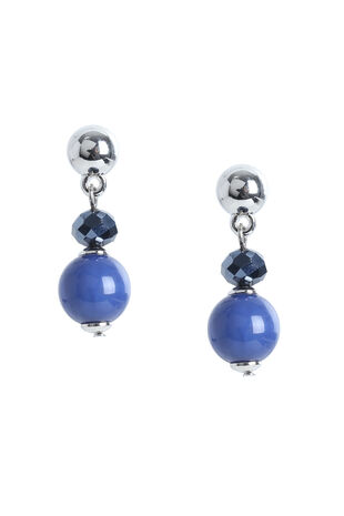 Muse Blue Bead Station Drop Earring