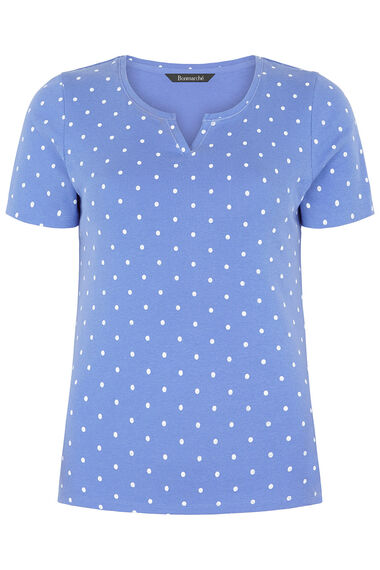 Notch Neck Spot Print T-Shirt