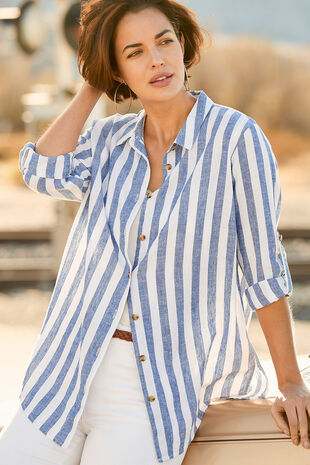Long Sleeve Blue and White Stripe Linen Blend Shirt