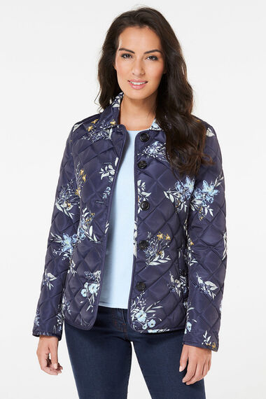 Printed Button Front Quilted Jacket