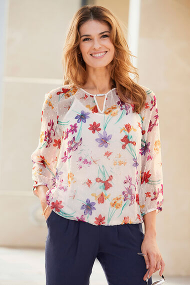 Floral Print Blouse with Metal Trim