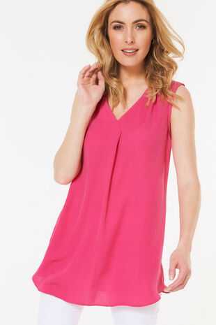 Sleeveless Tunic with Pleat Front Detail