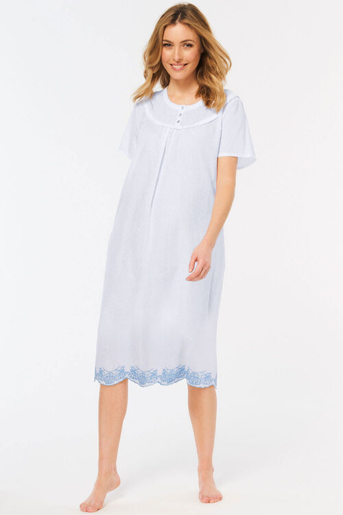 Dobby Spot Embroidered Nightdress