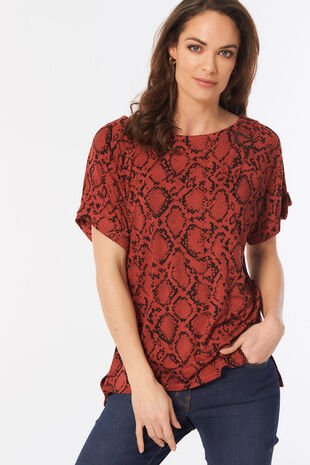 b26f3612056 Short Sleeve Snake Print Buckle Detail Top