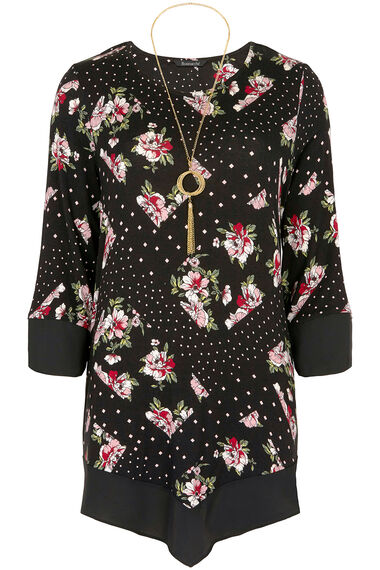 Chiffon Hem Top With Necklace