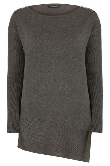 Asymmetric Zip Shoulder Tunic
