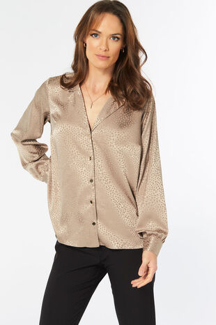 Jacquard Button Through Blouse