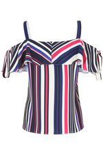 Stripe Print Bardot Top With Tie Detailing