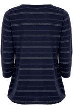 Metallic Stripe Keyhole T-Shirt