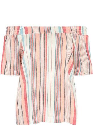 Stripe Linen Blend Bardot