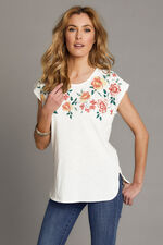 Bubble Print Floral Neck T-Shirt